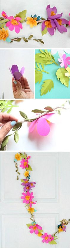Paper Flower Garlands | 15 DIY Wedding Ideas on a Budget