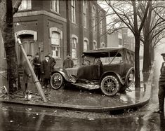 Another view of that 1921 car wreck at the intersection of 10th and R streets N.W. in Washington