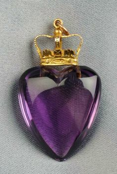 Gold and Amethyst Heart Pendant, Birmingham, c. the amethyst heart surmounted by a crown, lg. Purple Love, All Things Purple, Shades Of Purple, Deep Purple, Periwinkle, Purple Jewelry, Amethyst Jewelry, Or Violet, Purple Reign
