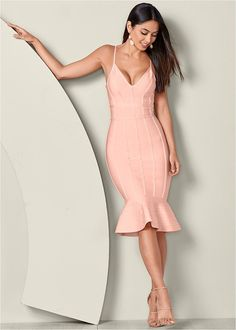 Women's Slimming Bodycon Dress Dresses - Light Pink, Size S by Venus Fashion Over 40, Latest Fashion For Women, Fashion Top, Fashion Women, Formal Dress Shops, Formal Dresses, Dresses Dresses, Party Dresses, Dresses Online