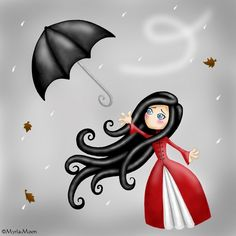Triste temps pour Aime-Moi by Myria-Moon (print image) Blowin' In The Wind, Singing In The Rain, Umbrella Art, Under My Umbrella, Image Triste, Illustrations, Illustration Art, Wild Plum Tree, Snow Art