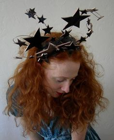 Bright Star headdress Wired Patent Black Leather by Mascherina