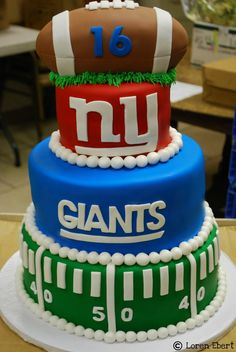 The Baking Sheet: 3-Tier New York Giants Football Cake!!