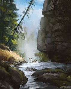 mountain stream with ducks - digital painting Ducks, Waterfall, Mountain, Digital, Illustration, Painting, Outdoor, Design, Outdoors