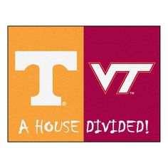Ncaa Tennessee/Virginia Tech House Divided 2 ft. 10 in. x 3 ft. 9 in. Accent Rug, Orange/Red