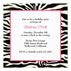 zebra print birthday party personalized invitations