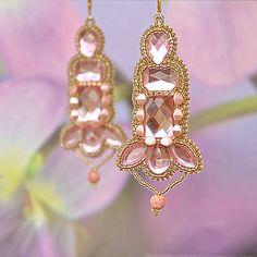 charoit / Náušnice so štrasom, ružové