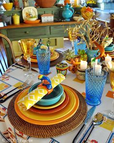 get the look tablescape, bird decor, mesa passaro, decoração mesa posta, como colocar a mesa, mix and mach, cores, composição pratos coloridos.