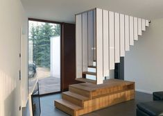 Unique floating staircase design that leaves you spellbound [Design: Blässe Laser Architekten] Spiral Staircase Kits, New Staircase, Staircase Remodel, Floating Staircase, Modern Staircase, Staircase Ideas, Floating House, Small Space Stairs, Small Space Living Room