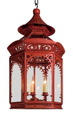 Red and chinoiserie go hand-in-hand, great lantern.