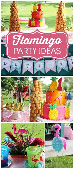 Love this tropical flamingo birthday party with a touch of whimsy! See more party ideas at CatchMyParty.com!
