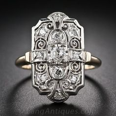Art Deco Diamond Dinner Ring - 10-1-6138 - Lang Antiques