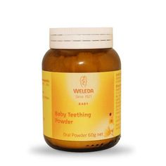 For the relief of the discomfort and restlessness associated with teething in babies and children. Helps calm and soothe.  Hello Charlie - Weleda Baby Teething Powder, $15.95 (http://www.hellocharlie.com.au/weleda-baby-teething-powder/)