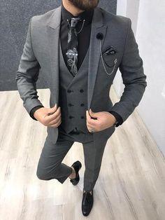 Mens Casual Suits, Dapper Suits, Black Suit Men, Mens Fashion Suits, Grey Suits, Formal Dresses For Men, Dress Suits For Men, Graduation Suits, Men's Business Outfits
