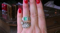 Vintage 18k gold 2ct Emerald 0.75ct Diamonds by MADAMECKERSON, $2500.00