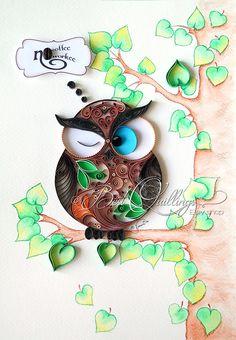 Original Art de dessin de Quilling: hibou pas par BestQuillings