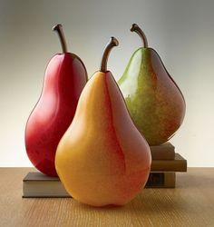 Blown glass pear sculpture by stella