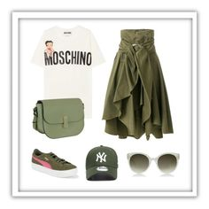 """""""Untitled #192"""" by leonor-morais-vasconcelos on Polyvore featuring Puma, Moschino, Valextra, Faith Connexion, Gucci, ruffles and RuffLyfe"""