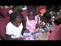 Haitian Girls Open Boxes-Operation Christmas Child