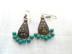 Items similar to Indian earrings, Oxidized silver earrings, Indian Jhumka earrings, Jumka earrings. on Etsy - Turquoise earrings oxidized silver earrings by IndiaTradition - Antic Jewellery, Antique Jewellery Designs, Fancy Jewellery, Silver Jewellery Indian, Indian Earrings, White Gold Jewelry, Jewellery Shops, Diamond Jewelry, Jumka Earrings