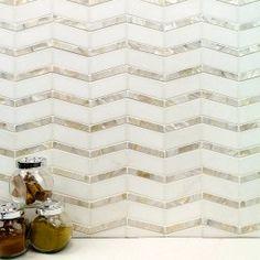 Kitchen backsplash  Alerion Thassos And Mother Of Pearl Tile | Tilebar.com