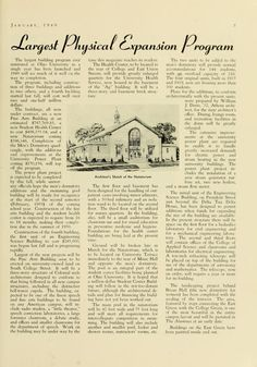"""The Ohio Alumnus, January 1949. """"Largest Physical Expansion Program."""" The construction of the Natatorium, Student Health Center (Hudson Health Center), Men's Dormitory (Scott Quad), and a Fine Arts Building (Seigfred Hall). :: Ohio University Archives"""