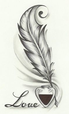 Feather drawing, feather tattoo design и tattoo drawings. Pencil Art Drawings, Easy Drawings, Tattoo Drawings, Body Art Tattoos, Drawings About Love, Pencil Art Love, Tattoo Art, Quill Pen Tattoo, Cute Love Drawings
