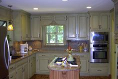 Kitchen Cabinet Makeover; Olive Green w Brown Glazing & Island made to look like Wood; Decorative Painting by Jeanine; Atlanta, GA