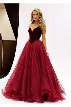 Sexy A line V-Neck Prom Dress,Noble Strapless Evening Dress,Long Prom Dresses,Organza Prom Dresses N47
