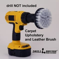 "4"" White Soft Drill Brush - 4 inch diameter soft bristle brush. Fits cordless drills and is perfect for upholstery (couches, chairs), carpets, and leather seats and furniture. Also popular for cleaning glass. Bristles are about as soft as a toothbrush for gentle scrubbing."