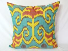 turquoise blue yellow red ikat pillow cover 20x20  by SilkWay, $24.69