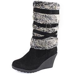 Women's Top Moda Great-30 Black Color Faux Suede Knee Wedge Heel Boots, Great-30 Black Sv