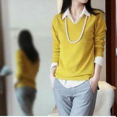 women's mercerized cotton V-neck heart shaped collar long sleeve sweater female basic shirt