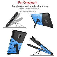 Hybrid Armor Silicone holder Case For One plus 3 TPU+PC Prevent scratch Case with 360 Degree Rotation holder