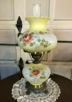 Vintage LARGE Floral Pink Rose Motif Hurricane Victorian-Style Electric Lamp | eBay Hurricane Lamps, Victorian, Vintage Hurricane Lamps, Lamp, Victorian Lamps, Vintage Large, Vintage Lamps, Oil Lamps, Fenton Glass