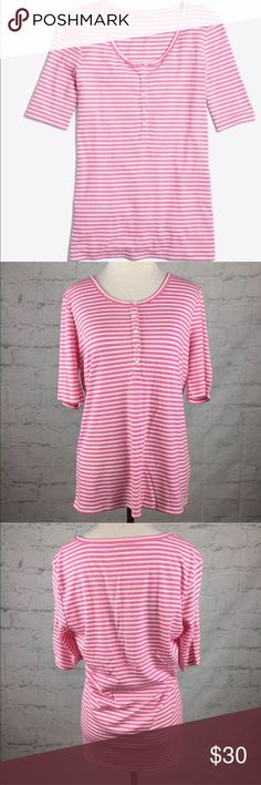 """J.Crew Pink Striped Henley sz L NWT J.Crew Striped Ribbed henley with 3/4 sleeves in Vivid Fuschia Ivory Size Large 18.5"""" pit to pit, length- 26"""" 48% Viscose, 47% polyester, 5% elastane J. Crew Tops"""