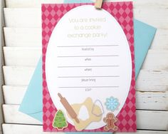 Christmas cookie party invitation fill in cookie by Greencard on Etsy