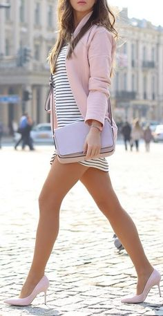 Coral blazer and heels white striped dress. All Fashion, Passion For Fashion, Fashion Outfits, Womens Fashion, Fashion Trends, Spring Summer Fashion, Spring Outfits, Outfit Online, Cute Outfits