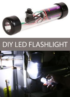 A basic LED flashlight is not only a good beginner project to learn about LEDs, but it very useful to have around. Diy Electronics, Electronics Projects, Voss Bottle, Water Bottle, Diy Tech, Led Diy, Wedding Tattoos, Celebration Quotes, Travel Design