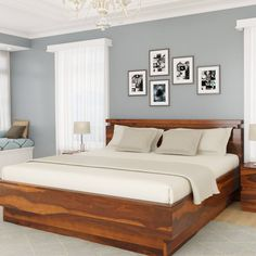 Looking For Solid Wood Beds? Get solid wood platform bed in custom size, shade and design of your choice. King Size Platform Bed, Solid Wood Platform Bed, Platform Bed Frame, Solid Wood Beds, Platform Bed Designs, Wood Bed Design, Bedroom Bed Design, Bedroom Ideas, Bedroom Designs