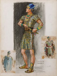 JOHN JENSEN COSTUME SKETCH FOR YUL BRYNNER FROM THE TEN COMMANDMENTS