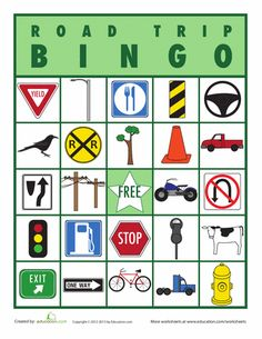 Worksheets: Road Trip Bingo