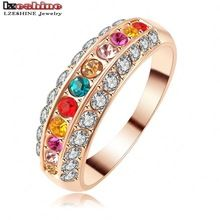 LZESHINE Brand Fancy Multi Color Women Jewelry Finger Rings 18K Rose Gold Plate AAA Zircon Engagement Ring Ri-HQ1102-A(China (Mainland))