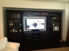 Home Theater Unit in Distressed Black by ZacoCreations on Etsy, $2695.00