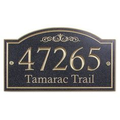 TheStoneMill Arch Corian Address Plaque Size: Large, Color: Night Shadow Black, Font Color: Gold