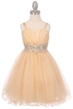 Carmela - Gold Tulle Girls Party DressGold Girls Tulle Party Dress Multi Layered Tulle Skirt with a Ruffled Coiled Hem Fully Lined with Spaghetti Strap Pleated Bodice with a Sweetheart Bust line AB Stones and Sequins embroidered into the embellishment Available in girls sizes 4 - 16
