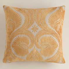 Amber Art Nouveau Chenille Throw Pillow