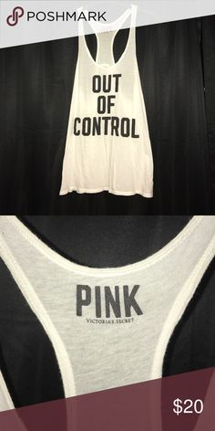 """PINK tank top """"Out of Control"""" embellished tank top. OFFERS WELCOME PINK Victoria's Secret Tops Tank Tops"""