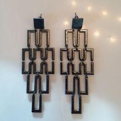 """Women's Metallic- Like Linked Earrings. Women's Metallic- Like Linked Earrings for Pierced Ears. 3"""" Long. Width 1.5"""". Light not heavy when worn.  Great look with any outfit. Unknown  Jewelry Earrings"""