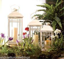 "Set of 3 Christmas Decor - Antique White Candle Lanterns 14"" to 20"" High"